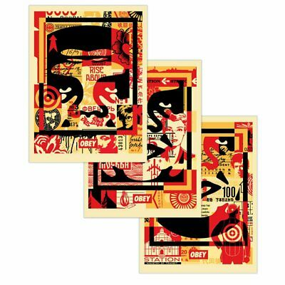 SIGNED! Shepard Fairey OBEY 3 FACE COLLAGE 3 Print SET Poster Giant 18X24 (X3)