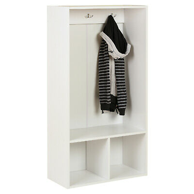 Hartleys White 2 Cube Kids Coat Rack Stand & Shoe Storage For Childrens Coats