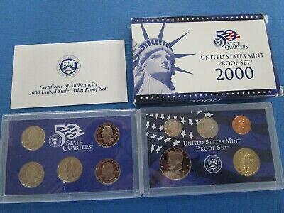 2000-S United States Mint 50 Quarters Proof Set with COA 10 Coins
