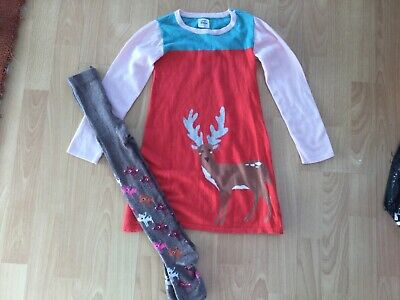 Girls Mini boden reindeer dress and tights age 5-6 years