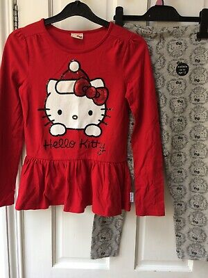Girls Xmas Hello Kitty Bundle 10-11 Years, Top Leggings Outfit New