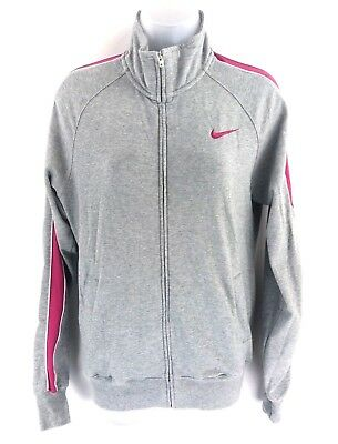 NIKE Womens Tracksuit Top Track Jacket M Medium Grey Pink Cotton & Polyester