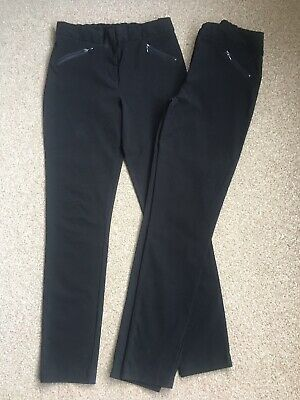 X2 Pairs Girls Black George School Trousers. Adjustable Waist Age 15-16 years.