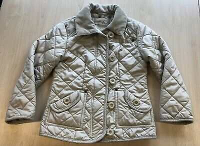 Girls NEXT Beige Quilted Jacket Fleece Lined Age 5 - 6 Excellent Condition