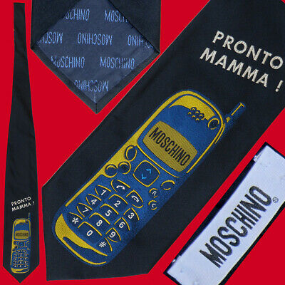 Cravatta MOSCHINO nera con RICAMO di CELLULARE e Pronto MAMMA - old mobile phone
