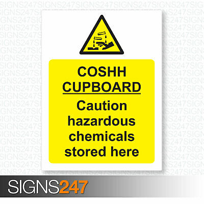 COSHH CUPBOARD SIGN - COSHH SIGN - Self Adhesive Vinyl - 150mm x 200mm