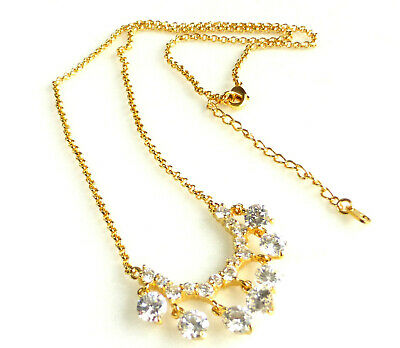Women 24K Yellow Gold plated Simulated Diamon Bridal Wedding Necklace Choker UK