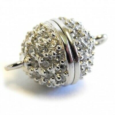 Magnetic Round Ball Clasp Silver Rhodium Plated with Zirconias - FC4502