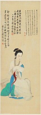 Chinese old scroll painting Beauty taking a breeze at night by Zhang DaQian