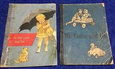 (2) Dick and Jane Books Vintage We Look & See We Come & Go Paperback