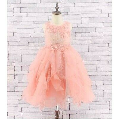 Girls Kids Beautiful Peach Party Flare Dress Bridesmaid Christmas 2 To 13 Years