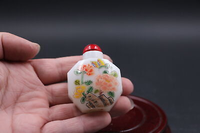 Collectable Chinese Exquisite Jade Hand-Painted Peach Boy Snuff Bottle