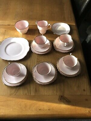 Genuine Bone China Vale Made In Longton 5 Pink  Trios Tea Cup,saucers & Side...