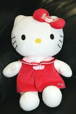 Doudou peluche hello kitty chat blanc robe rouge rose noeud encre marin 28cm