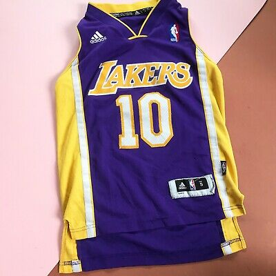 Retro Kids LA Lakers Basketball Nash 10 Adidas NBA Sports Jersey Top 6-8 Y