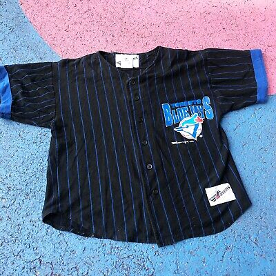 Vintage Kids 90s Toronto Blue Jays Stripe Baseball Top Shirt 5-6 Yrs