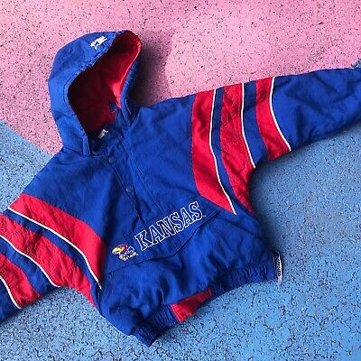 Vintage Kids Kansas Jayhawks Padded Pullover Coat Jacket 6 Y