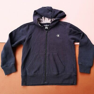 Vintage Kids Champion Blue Navy Casual Unisex 90s Sweatshirt Hoodie 8-10 Y