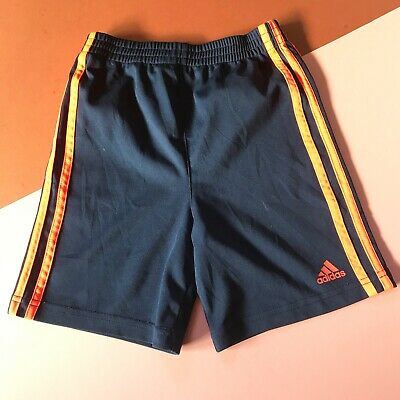 Vintage Kids Adidas Navy Neon Orange Stripe Sports Shorts 4-6 Y