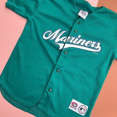 Vintage Kids 90s Y2K Seattle Mariners Baseball Jersey Top 8-10 Y
