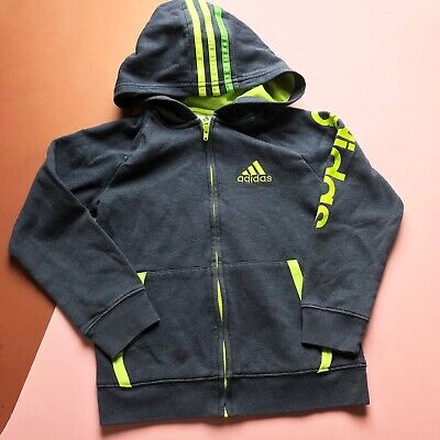 Retro Kids Adidas Grey Green Grunge 90s Casual Hoodie 4-6 Y