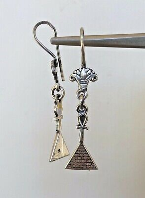 Ankh Pyramid Lotus Oxidized  Dangle Egyptian  .800 Sterling Silver Earrings