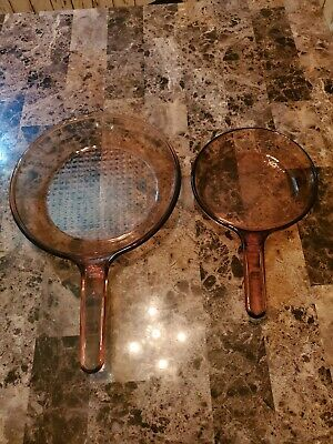 """Corning Vision Ware 10 In. & 7 In, Amber Waffle Glass Skillet Frying Pan FRANCE"""""""