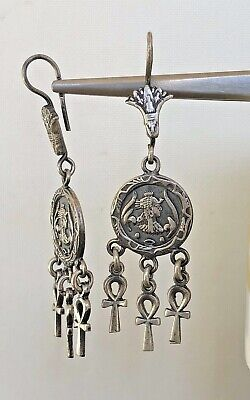 Cleopatra Lotus Ankh Oxidized  Dangle Egyptian  .800 Sterling Silver Earrings