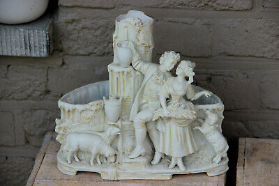 Antique French bisque porcelain planter jardiniere group figurine sheep animals