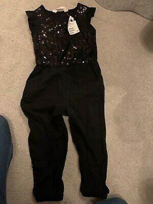 Brand New With Tags Girls Sequin Black Jumpsuit Party Festive Period Age 2-3 H&M