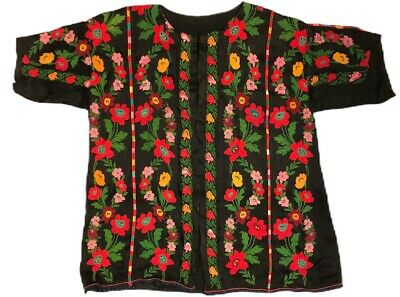 Vtg Jacket Bedouin Antique Hand Embroidery Middle Eastern Traditional Floral