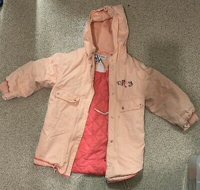 Girls Vintage DKNY coat With Hood And A Ziip. Peach Colour With Writing Size 6Y.