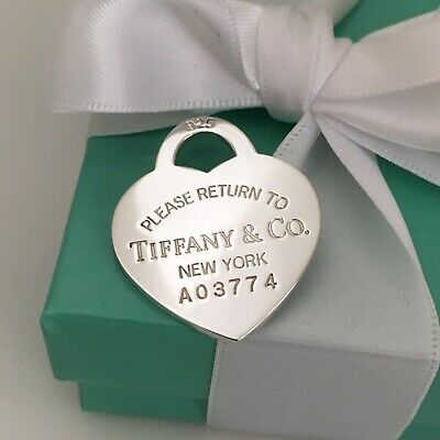 Please Return to Tiffany & Co Large Sterling Silver Heart Tag Pendant Charm