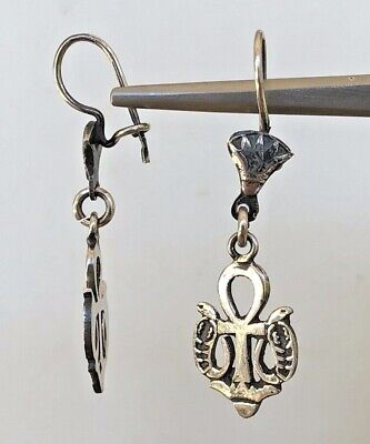 Ankh Lotus Serpent Oxidized  Dangle Egyptian  .800 Sterling Silver Earrings
