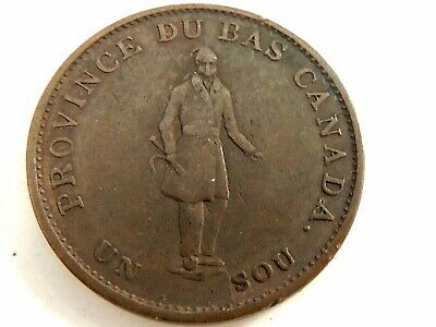 1837 Canadian One (1) Sou Quebec Bank Token