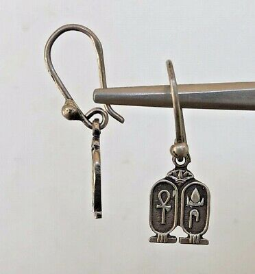 Ankh Double Cartouch Oxidized  Dangle Egyptian  .800 Sterling Silver Earrings