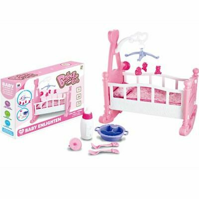 Pink Dolls Rocking Cradle Crib Cot Bed Girls Toy Creative Baby Gifts Creative