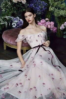 New Marchesa Notte Draped Bodice Netted Tulle Gown Embroidered 4 6 8 12 14