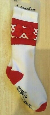 New Disney Parks Minnie Mouse Pair of Socks for Kids Size Youth Small White Red