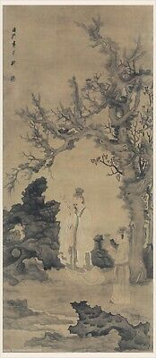 Chinese old scroll painting Scholar man admiring plum blossoms by Chen HongShou