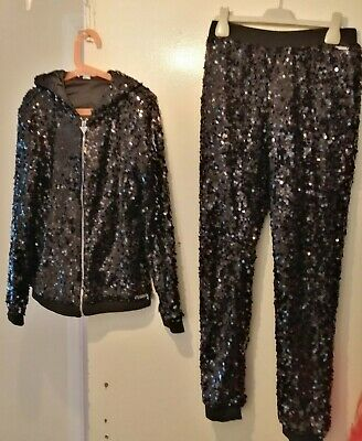 Guess Girls Black Sequin Tracksuit  Hooded Jacket & Trousers age 12yrs Good Con