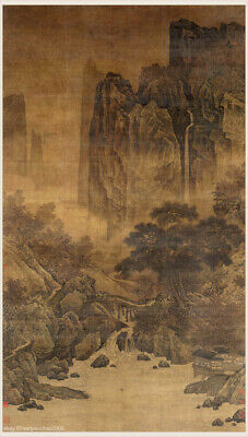 Chinese old painting Landscape Red trees autumn mountain by Li Tang Song dynasty