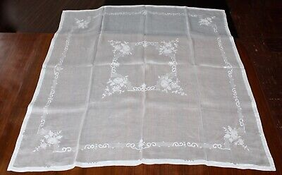 """Vintage Organdy Tablecloth: White on White Floral Embroidery + Appliqué. 50"""" Sq"""