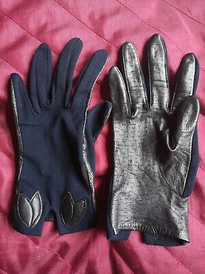 Pair Of Vintage Black Leather & Strechy Navy Blue Nylon?? St Michael Gloves (L)