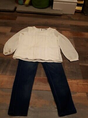 Immaculate Girls Cream Top Blue Jeggings Outfit 7-8 years Pretty