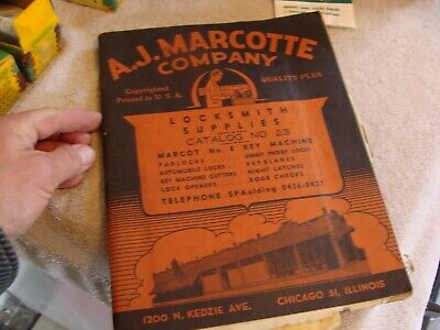 1947 A.J. MARCOTTE COMPANY CHICAGO Key Blank Locksmith Supplies CATALOG BOOK OLD