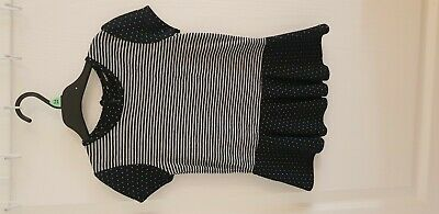 Girls ASDA Black And White Stripe And Spotty Top Age 5-6