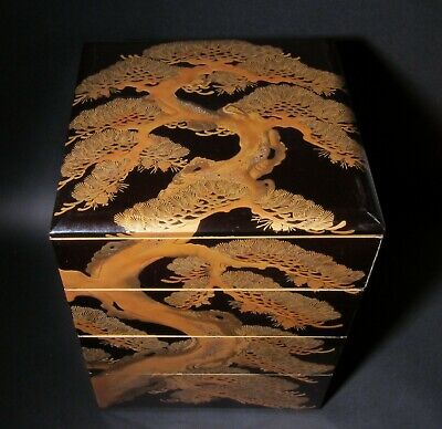 JAPANESE MAKIE LACQUER JUBAKO STACKED BOXES, 2 UNIQUE LIDs