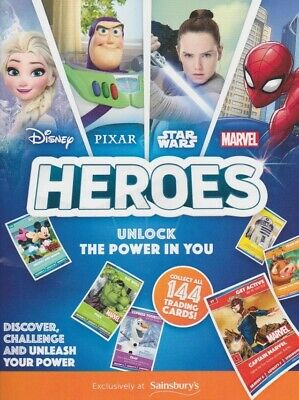 Sainsburys Disney Marvel Heroes Trading Cards Complete Full Set - 144 Cards