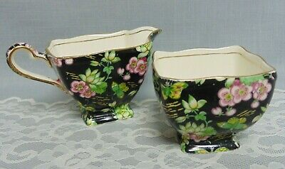 "Royal Winton Grimwades Chintz Sugar Creamer ""Orient"" 1953 Black England"